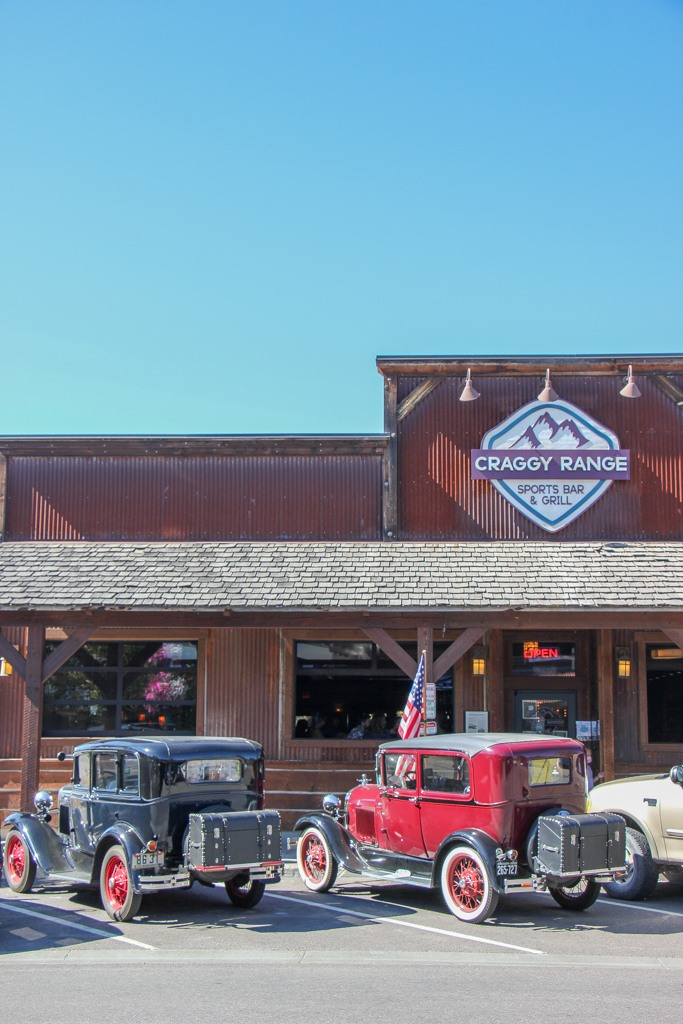 Shops and restaurants line the main streets of Whitefish, Montana