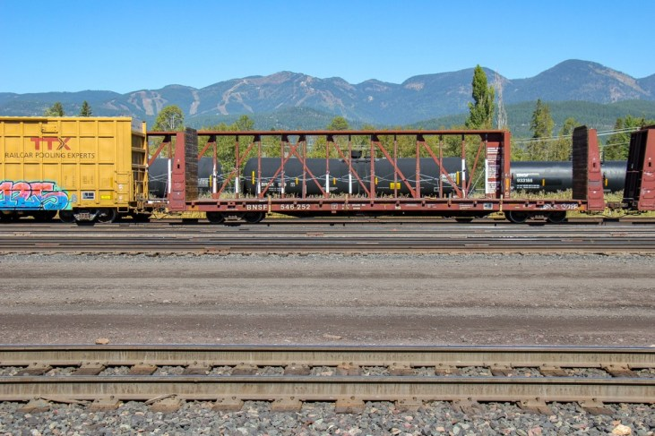 Freight Cars and the Train Station, Whitefish, Montana