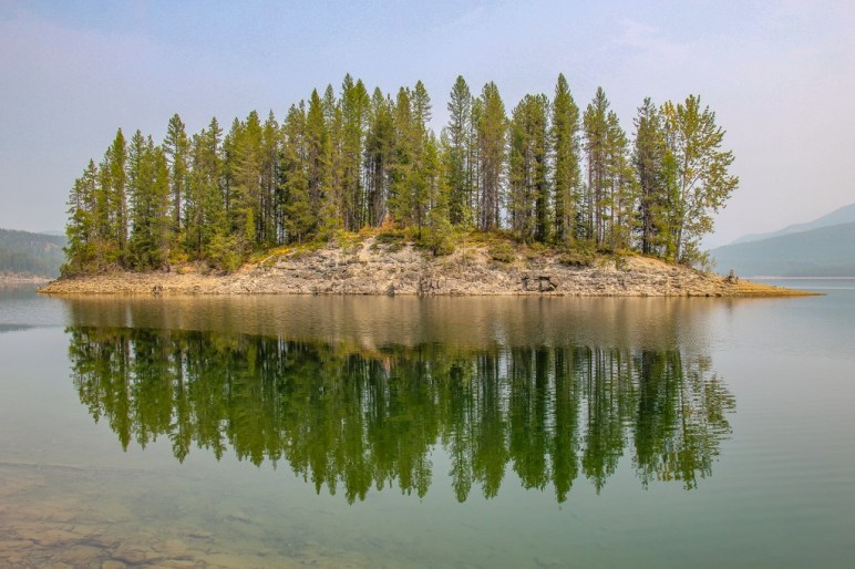 Reflection view of Hungry Horse Reservior, Montana Road Trip