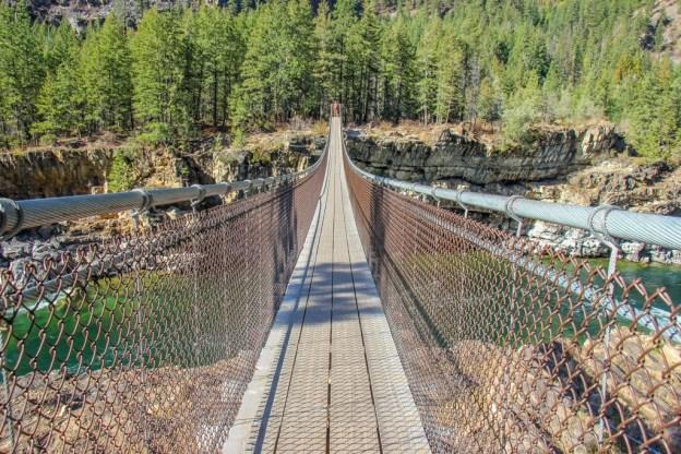About to walk across Kootenai Swing Bridge, Montana Road Trip