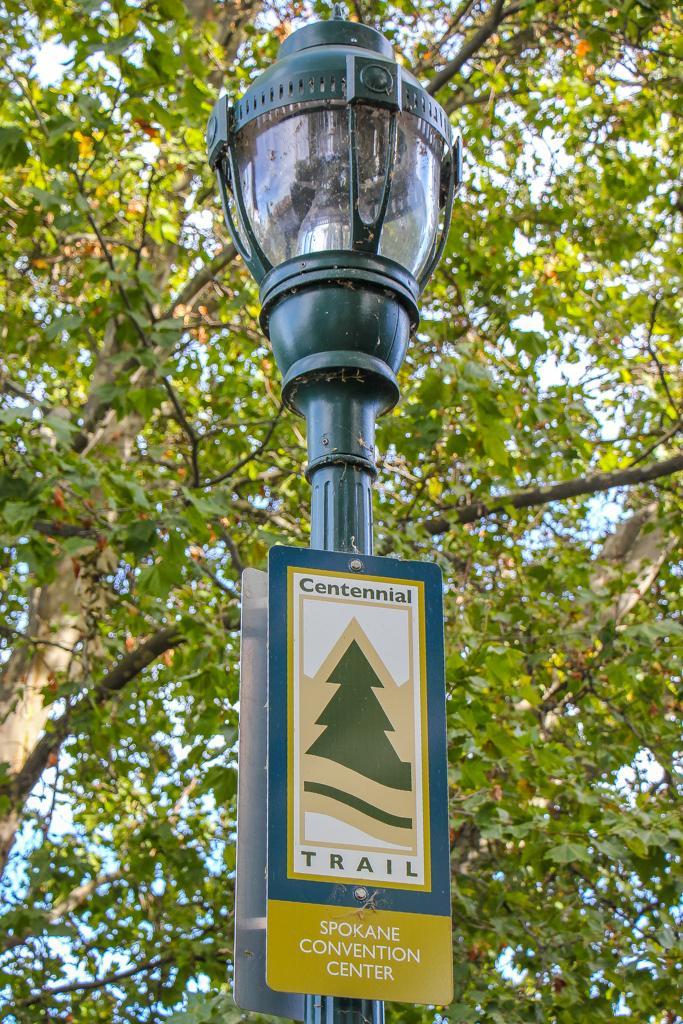Easy to follow Centennial Trail Sign, Spokane, WA