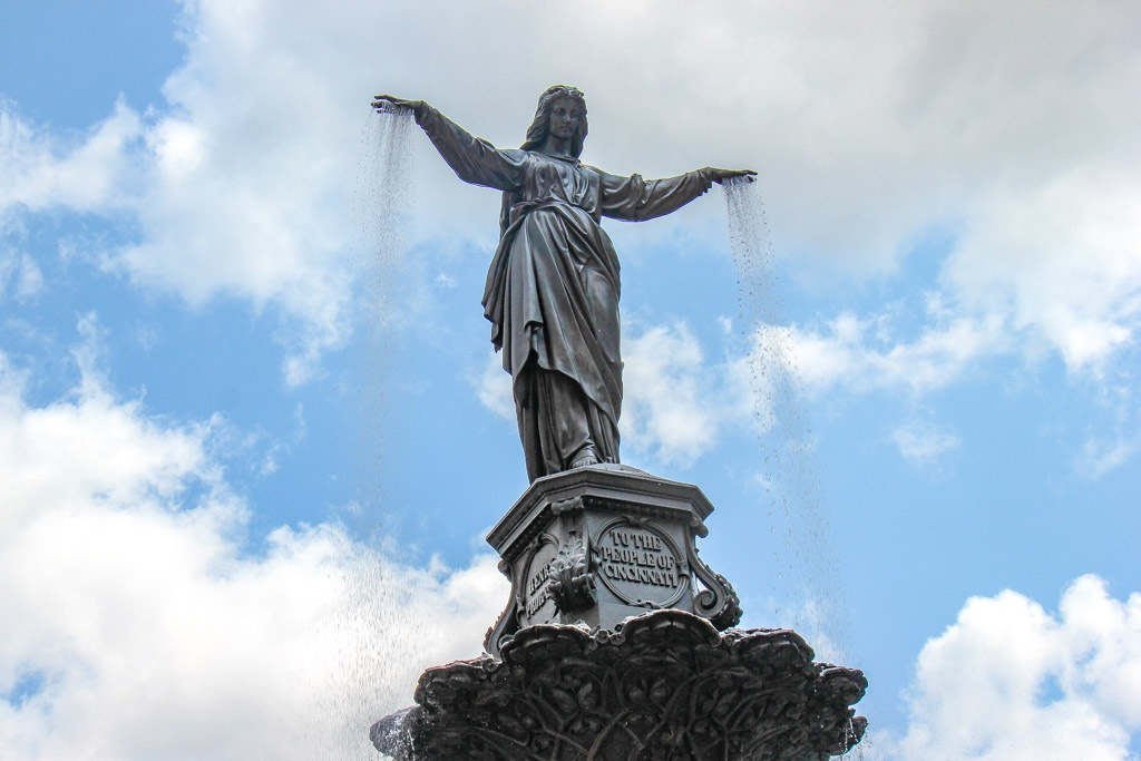 Looking up at Fountain Square, Cincinnati, Ohio