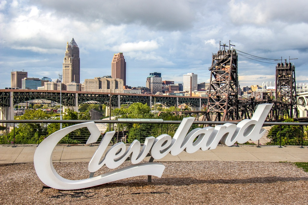 Ohio City, Script Cleveland Sign, Ohio