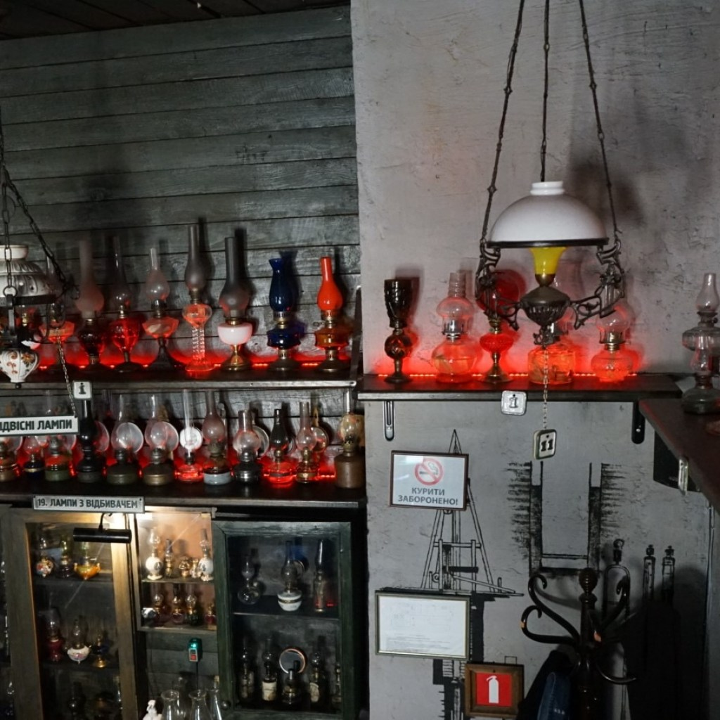 The collection of the kerosene lamps  in the restaurant Gas Lamp