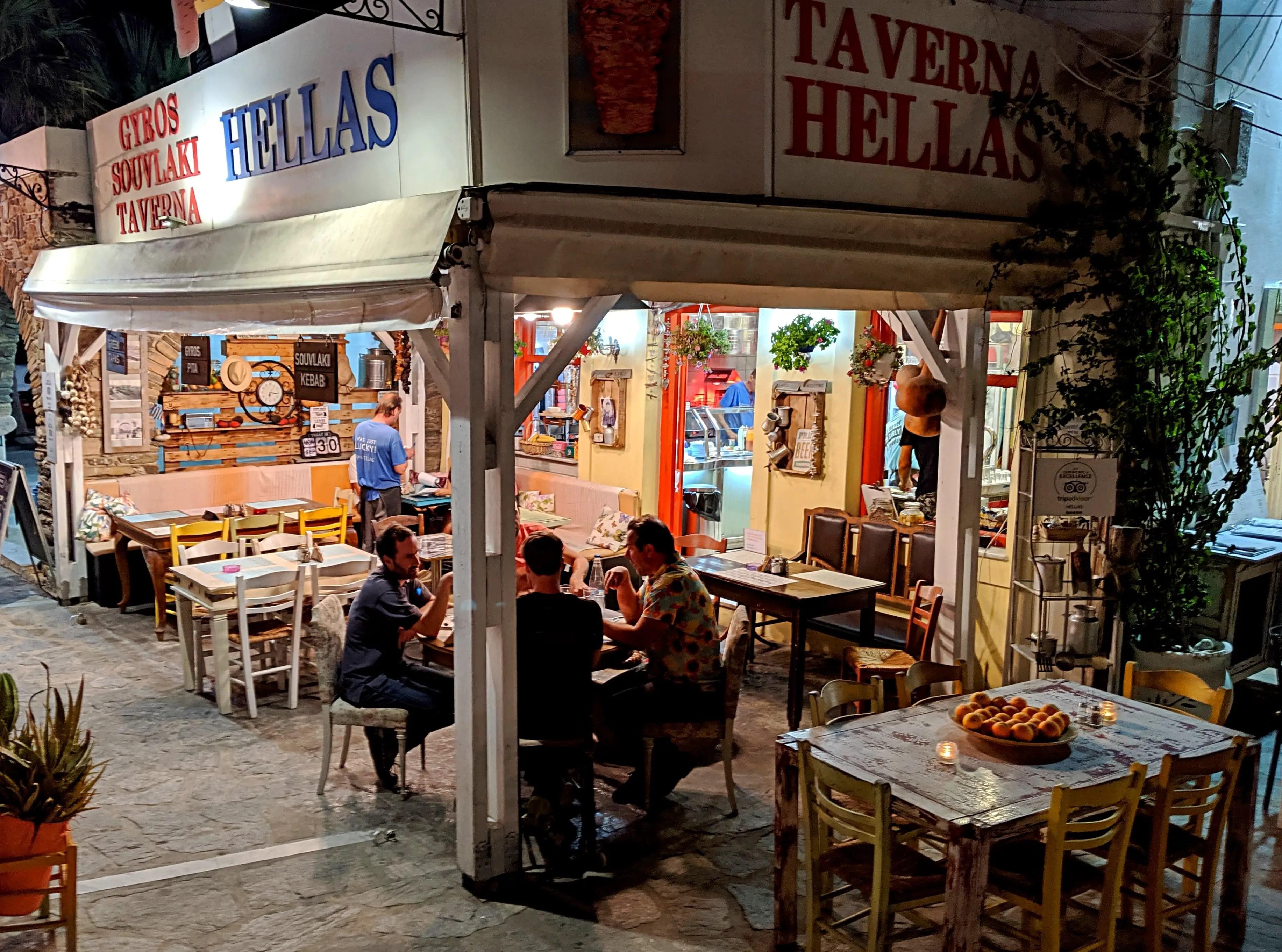Hellas restaurant outside seating