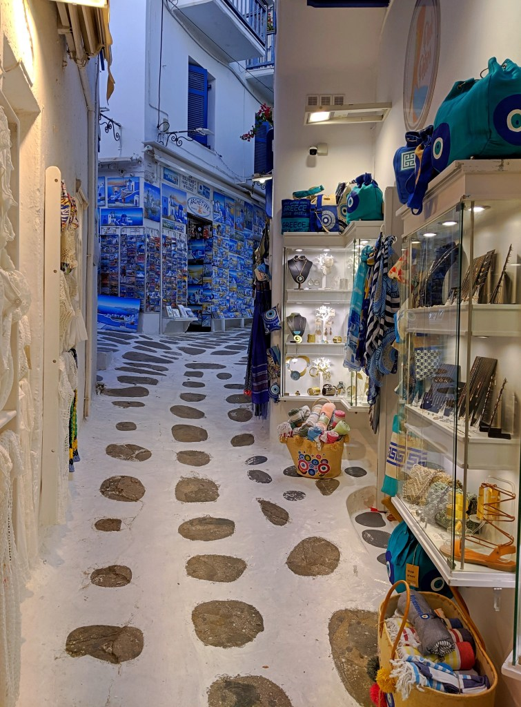 One of the streets in Mykonos, souvenirs