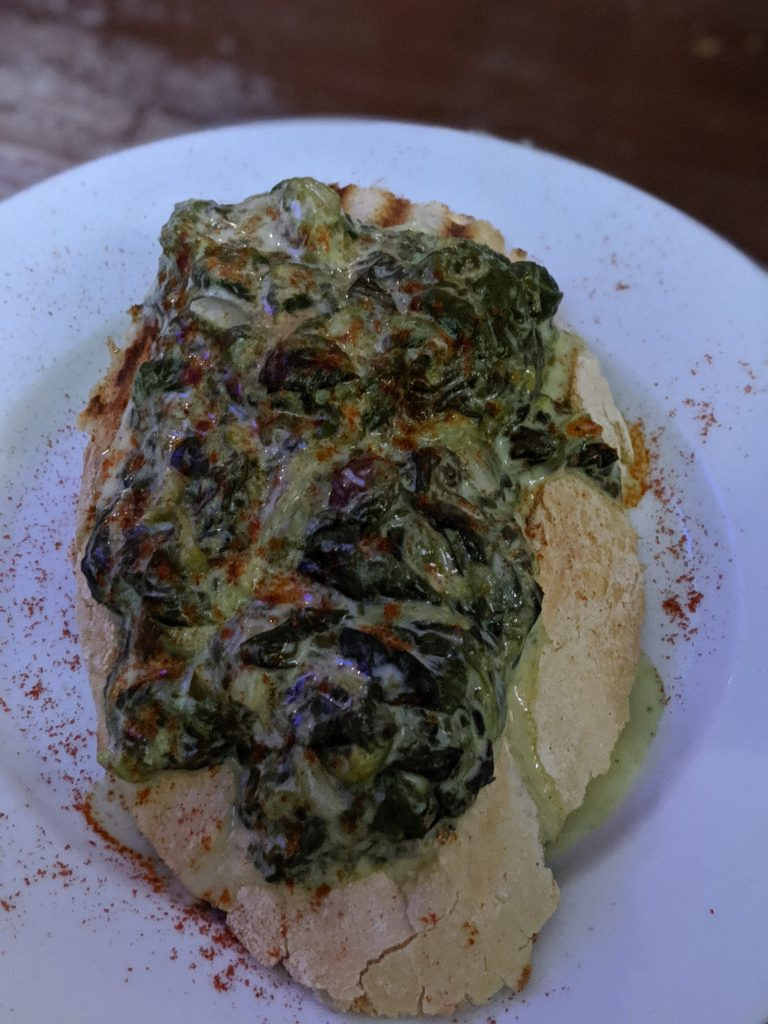 creamed spinach crostini tapas in Granada