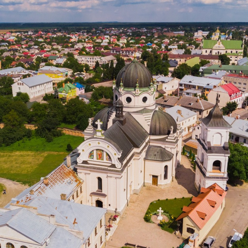 A Day Trip From Lviv To Zhovkva: Church of the Sacred Heart of Jesus, drone photo