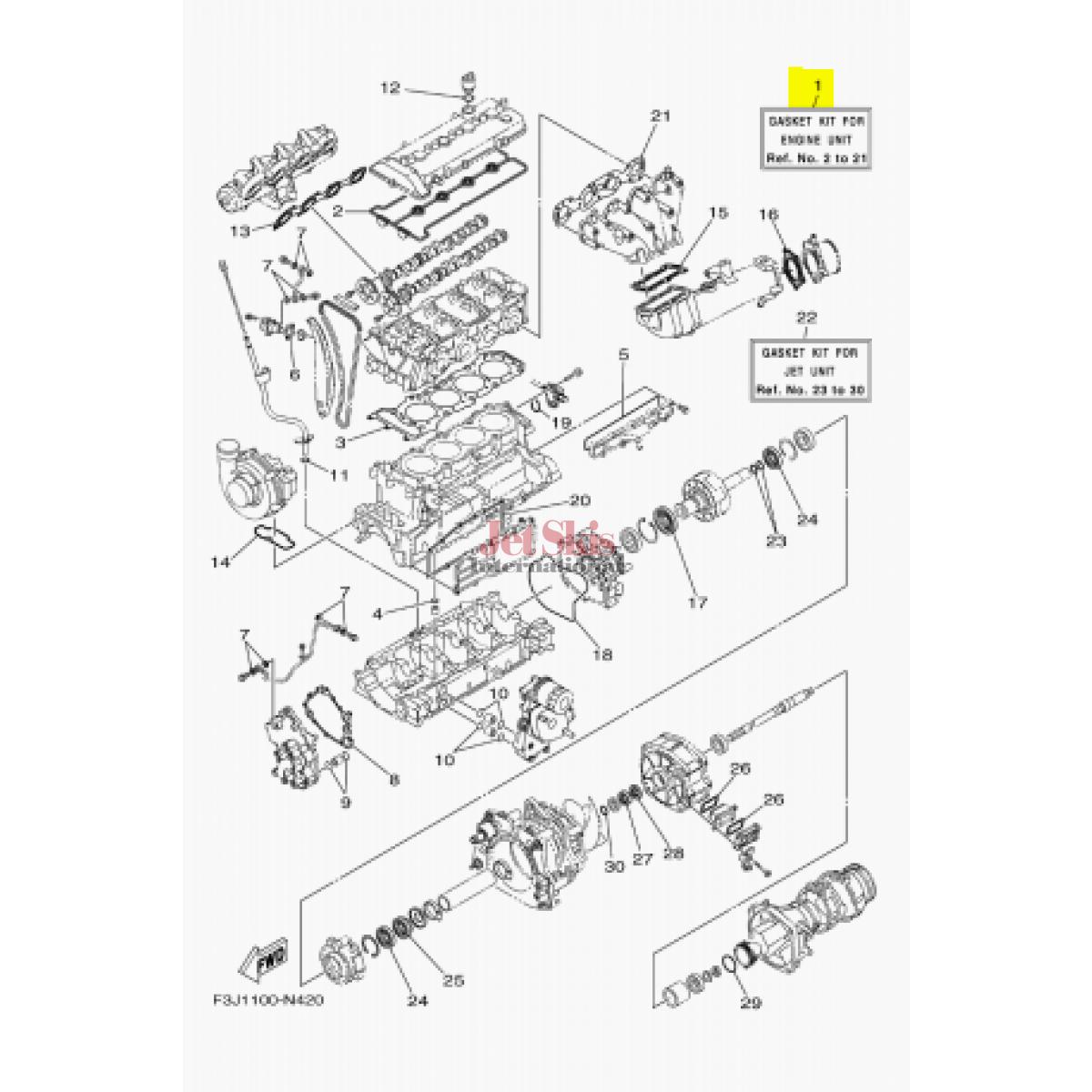 Yamaha 6et W 00 00 Gasket Kit For Engine Unit