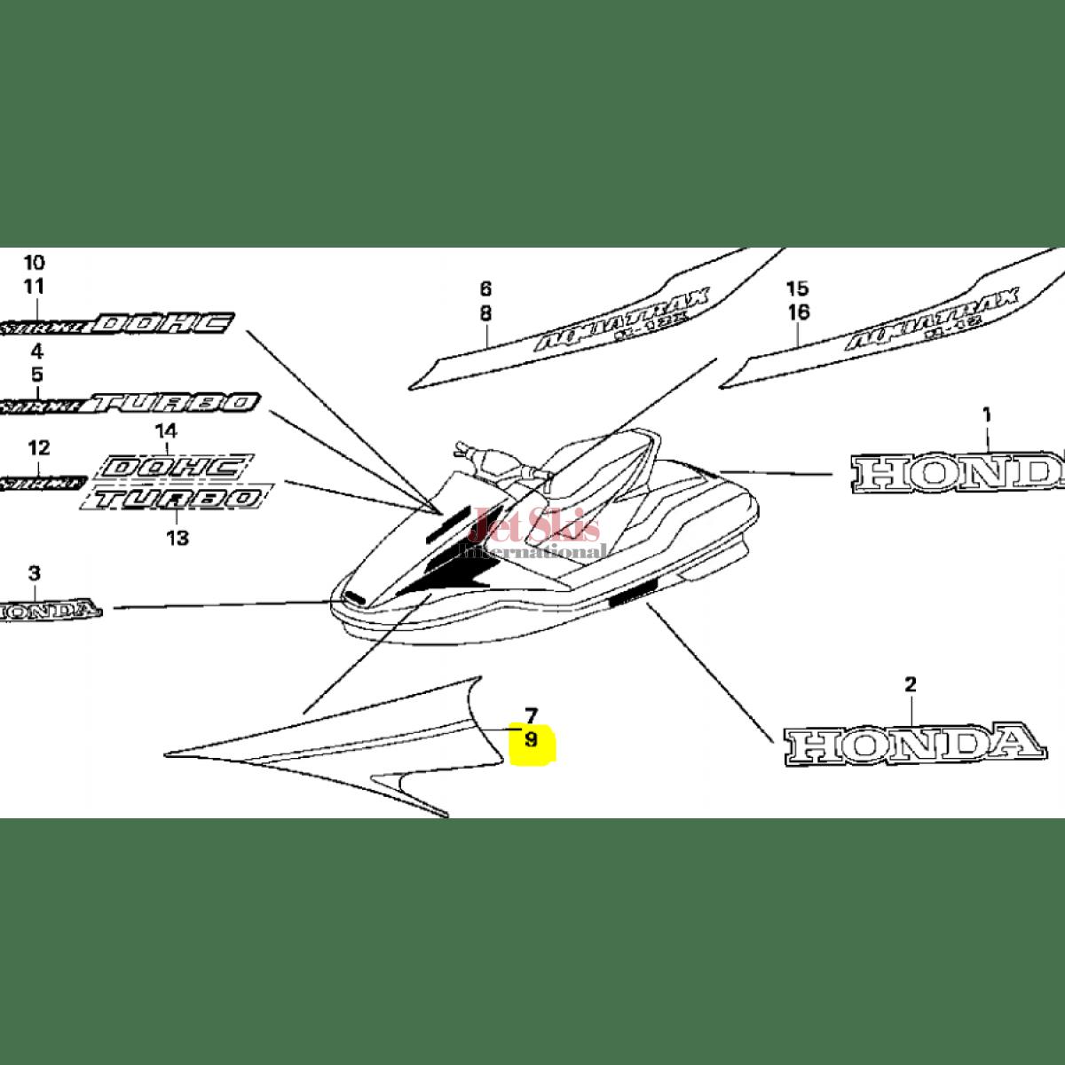 HONDA AQUATRAX PART# 83606-HW3-A00ZA STRIPE B, L. (TYPE1