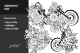 Last preview image of Flower x Motorcycle Vector Illustration