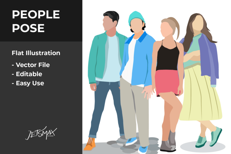 Preview image of People Pose Vector Illustration
