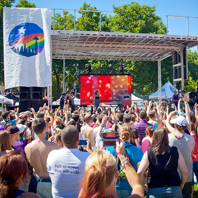 Crowd gathered in front of a Seattle PrideFest stage
