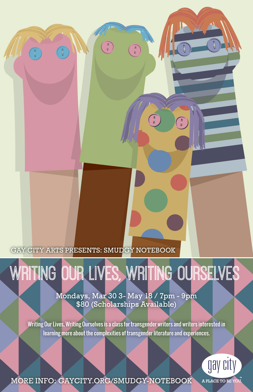 Poster for Gay City Arts: Writing Our Lives