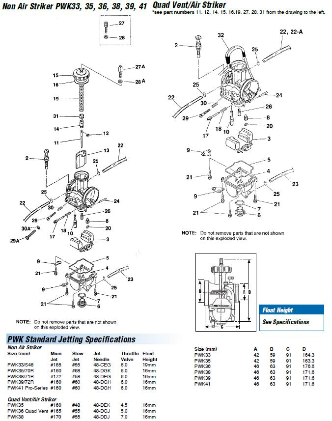 PWK 33 35 36 38 39 41 CARB EXPLODED VIEW