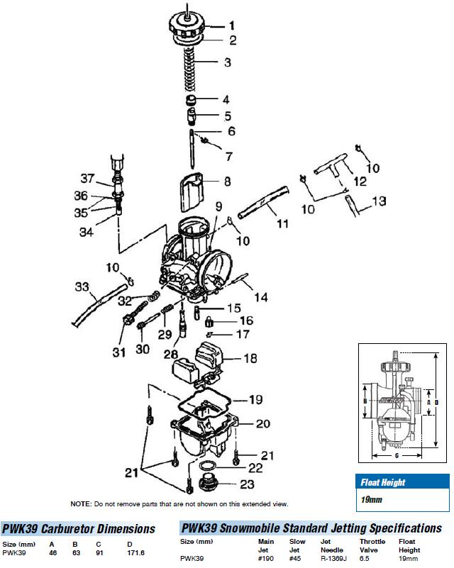 PWK 39 SNOWMOBILE CARB EXPLODED VIEW
