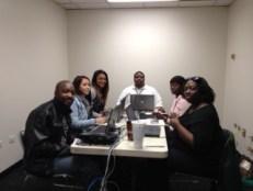 Customer Service Agents for Frontier L to R: Jasman Rhyne, Sue Zesati, Breeahnah Williams, Jay Sherrod, Muchelle Williams, and Tenaiya Beckett