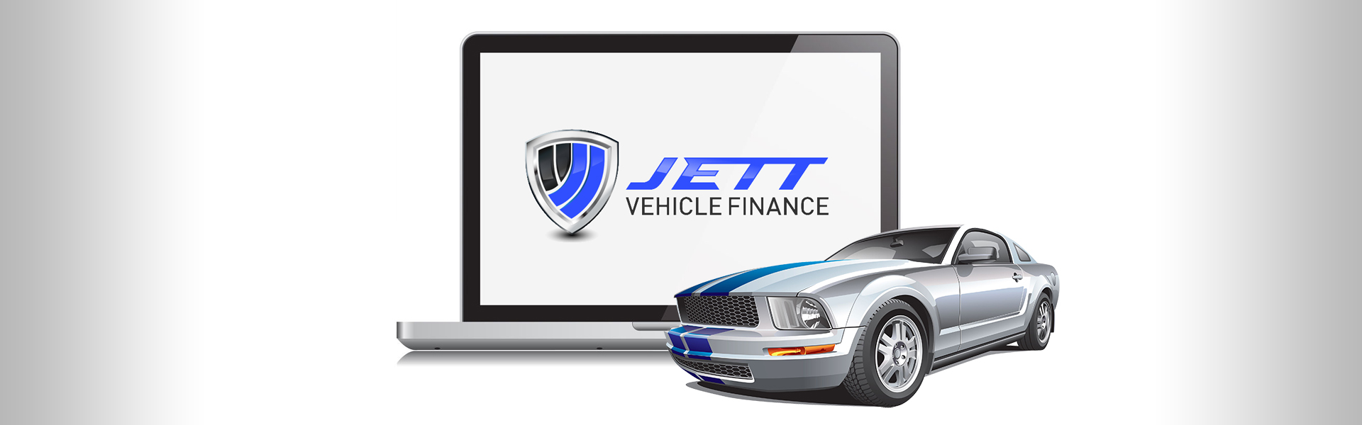 Computer With Jett Logo and Car