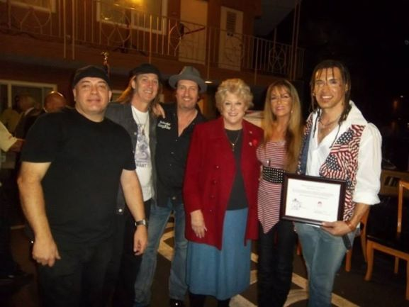 Jet Velocity sound tech asked to stand in for pic — with Jet Velocity, Barry Barnes, Les Warner, Janea Chadwick Ebsworth, Jet Velocity, Carolyn Goodman for Mayor, Jason Ebs and ECOTONIC at Veterans Village.