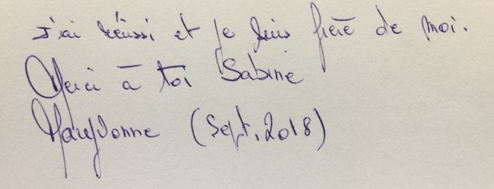 Merci à Toi Sabine