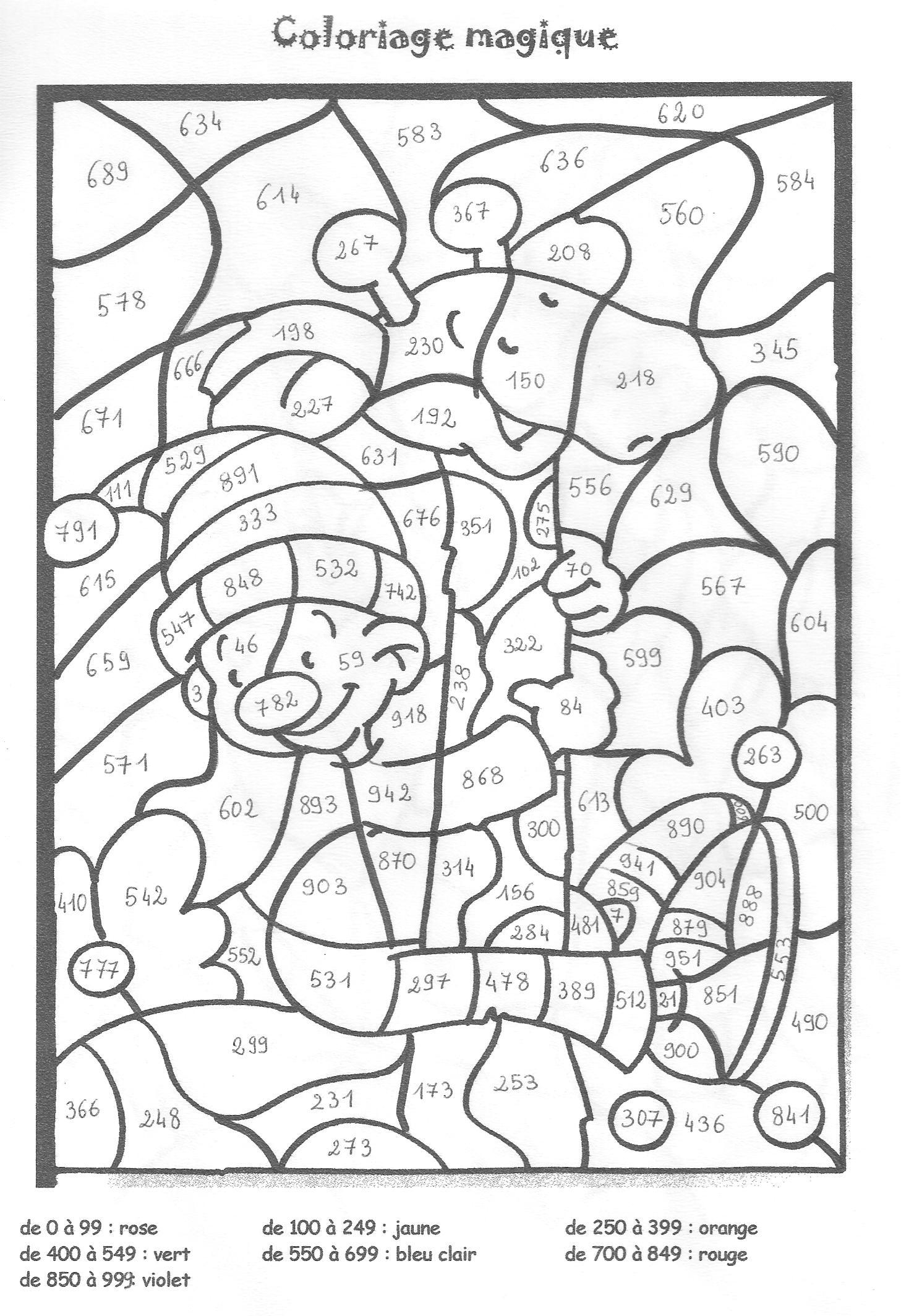 Coloriage204: coloriage magique ce1 numération