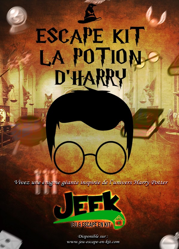 Escape Game en kit la potion d'Harry Potter ! Un escape game adulte entre 1 & 6 joueurs pour créer chez vous ou au travail, lors des événements, des escape room vous-mêmes !