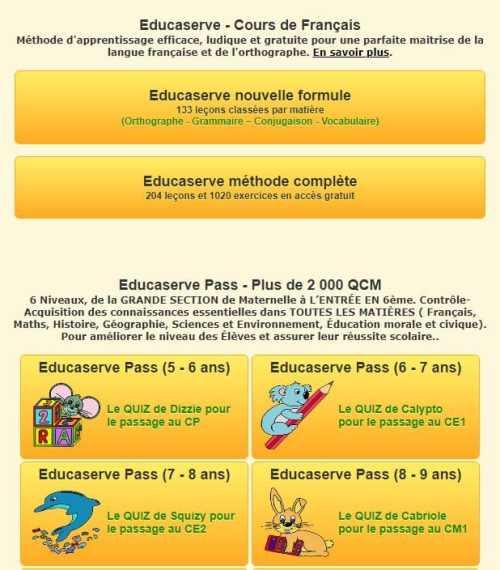 Educaserve Lecons Et Exercices Sur La Langue Francaise