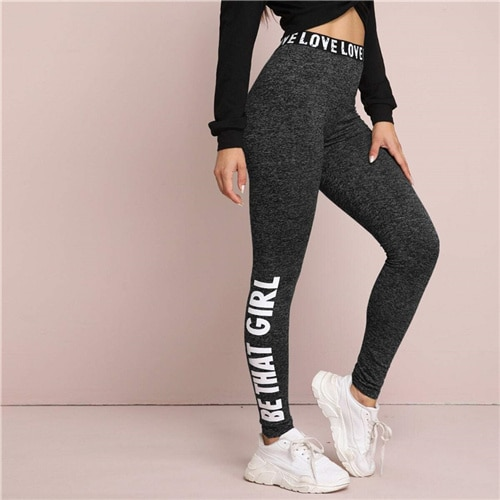Black Letter Print Graphic Marled Leggings Women Bottoms