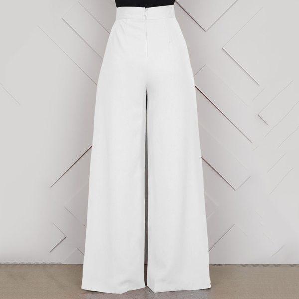 Versear Elegant High Waist Women's Trousers Autumn Fashion White Ladies
