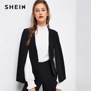Black Poncho Office Lady Streetwear Cloak Open Front Blazer