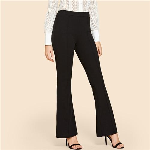 Black Vintage Solid Contrast Binding Flare Leg Elastic Waist Elegant Pants Autumn Office Ladys