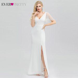 Elegant White Prom Dresses Ever Pretty Mermaid V-Neck Short Sleeve