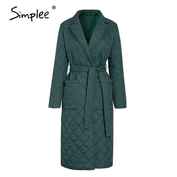 winter windproof jacket Casual sashes women winter parka Long straight coat