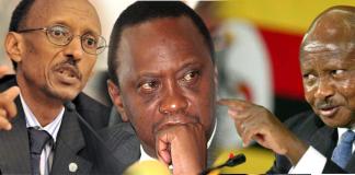 Paul Kagame Yoweri Museveni na Uhuru Kenyata
