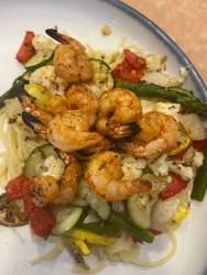 Sheet pan veggies with cajun shrimp
