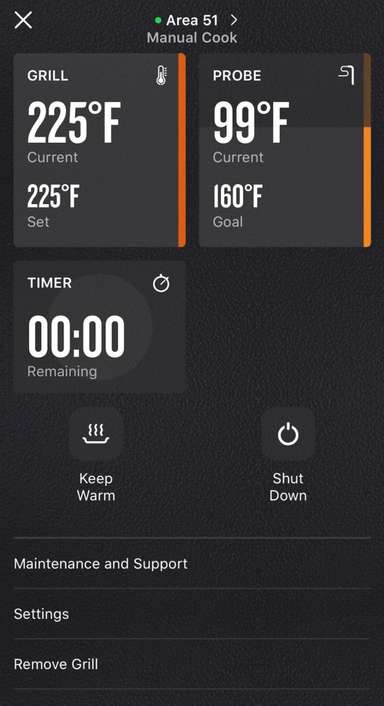 Using Traeger's Wifire app to monitor my cook.