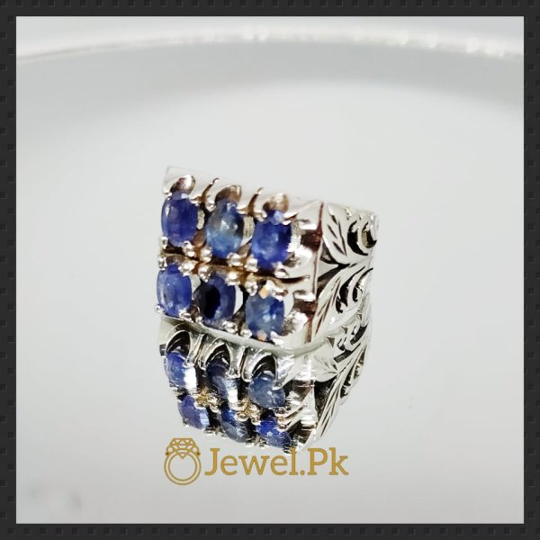 Natural Sapphire Rings for Men - Silver 925