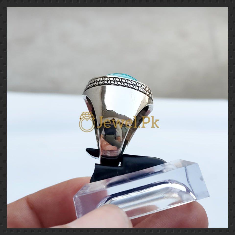natural turquoise ring 925 silver + chandi + feroza