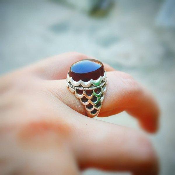 Handmade 925 Silver Ring. Yemeni Agate aqeeq Stone