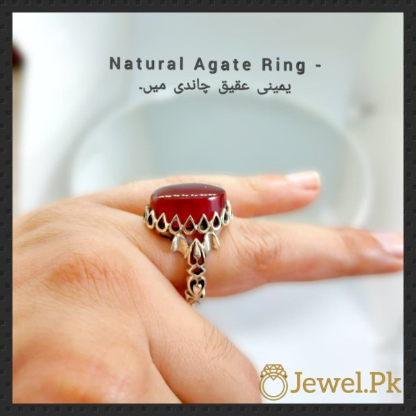 Natural agate rings in silver 925 bu online in pakistan
