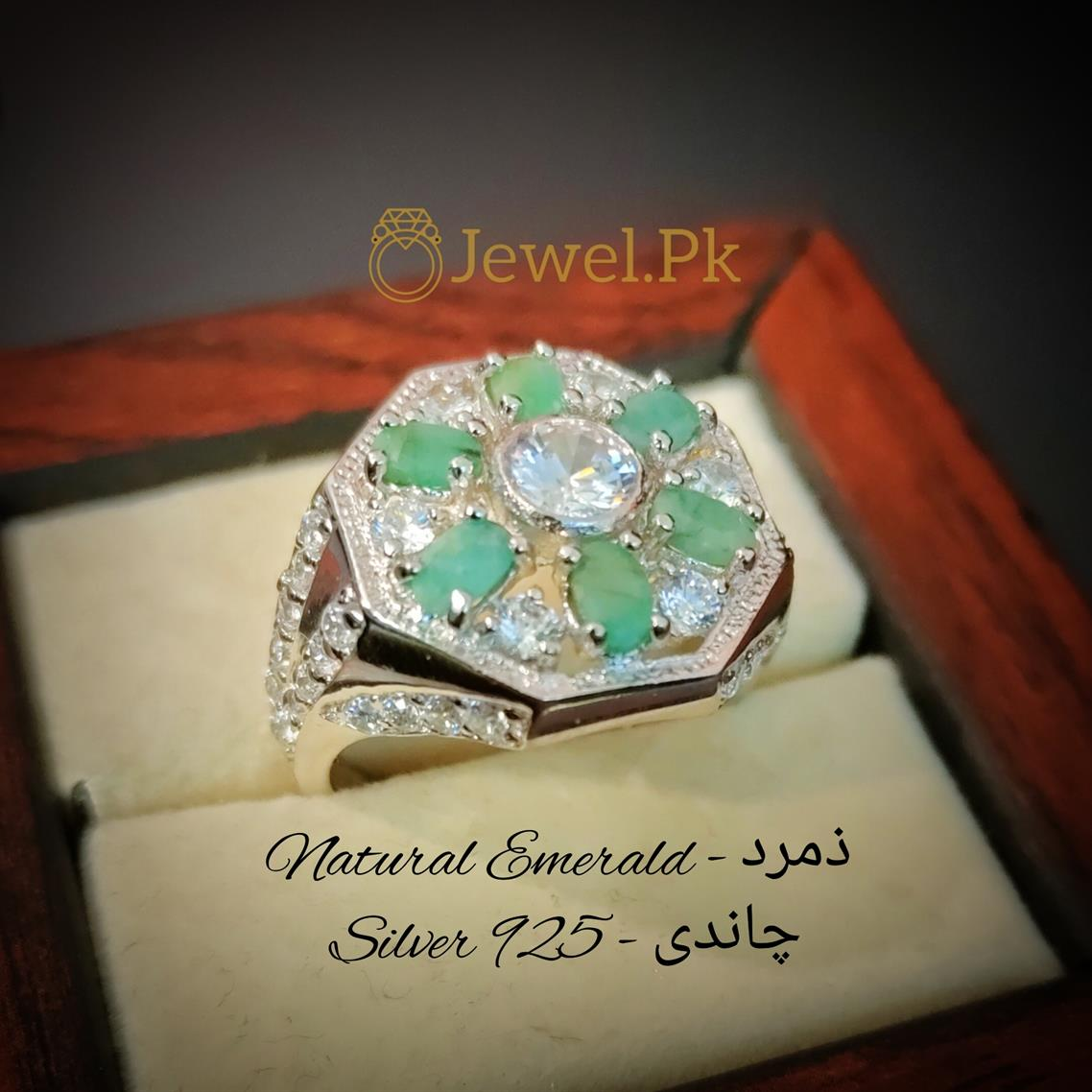 6 Pieces Emerald Ring Unisex Natural Emerald Rings in Pakistan Zamurd Rings 2 natural gemstones pakistan + 925 silver jewelry online