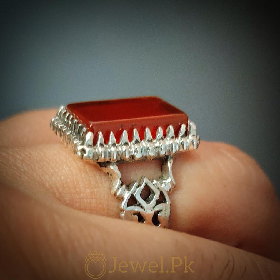 Beautiful Red Aqeeq Ring Yemeni Aqeeq Agate rings buy online 925 Silver Handmade Ring 7 natural gemstones pakistan + 925 silver jewelry online
