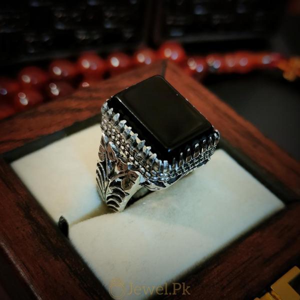 Ultimate Black Aqeeq Ring handmade