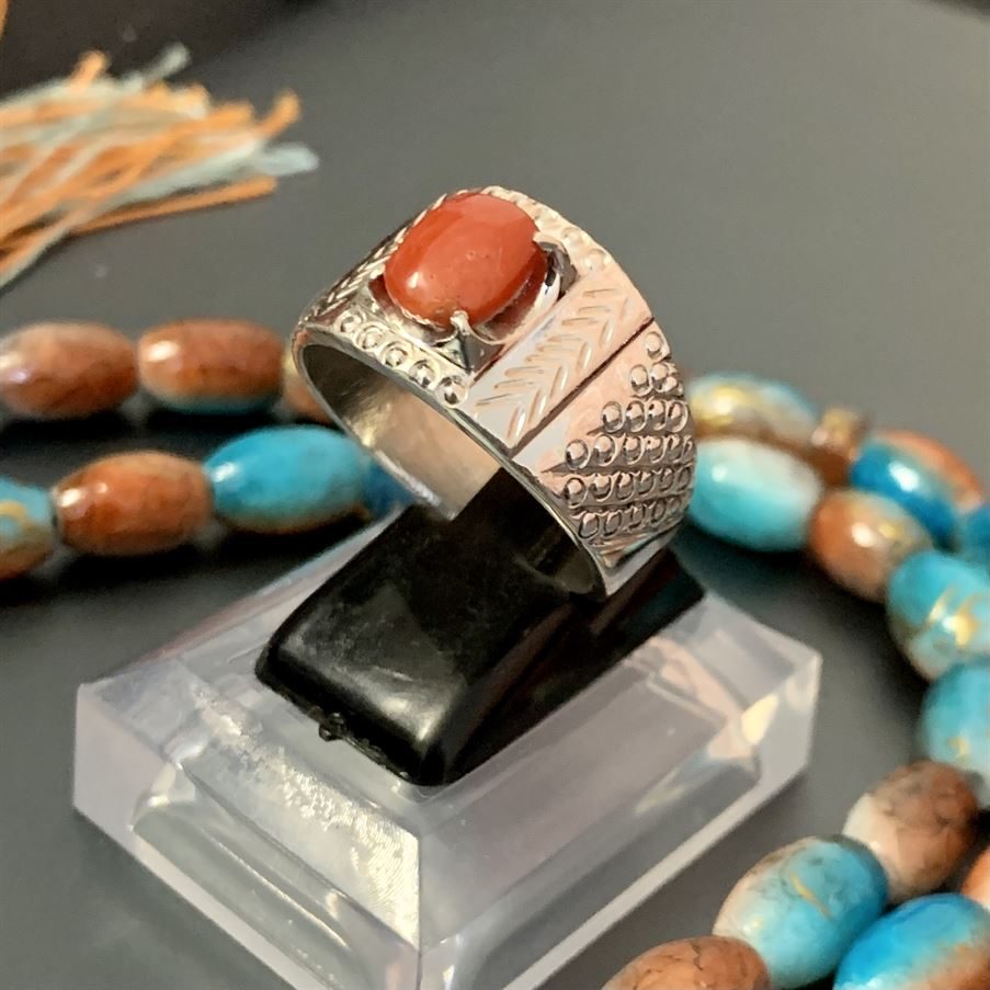 Natural Coral Ring Marjaan Ring 1 natural gemstones pakistan + 925 silver jewelry online
