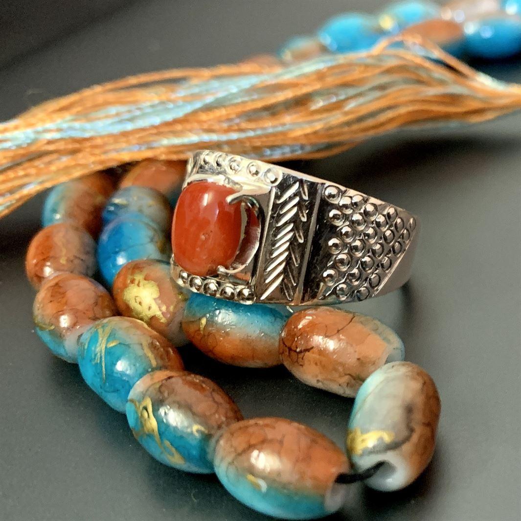 marjaan ring - Natural coral ring 925 silver chandi