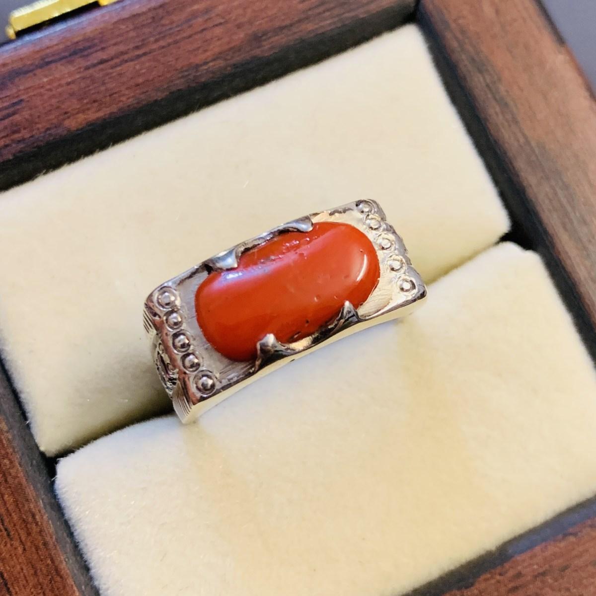 Marjaan Ring - Natural Coral Ring 925 Silver Handmade