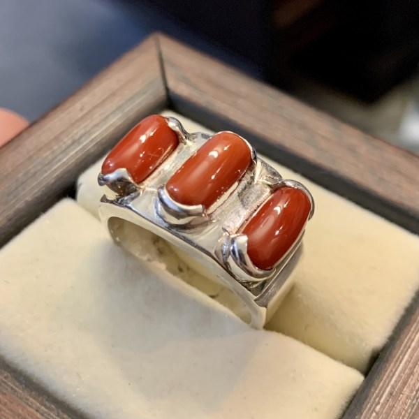 Natural Coral Ring Marjaan Ring 925 Silver - Marjan Rings online in Pakistan