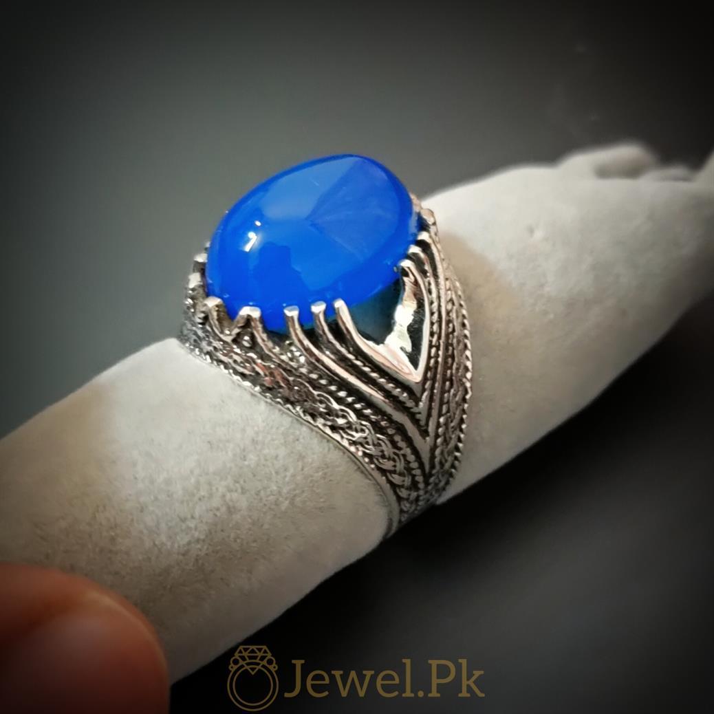 Blue Aqeeq Ring 925 Silver Ring