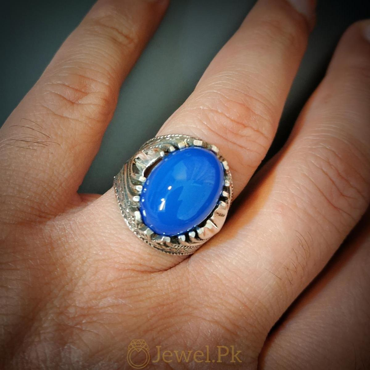 Rare Blue Aqeeq Ring Beautiful and Luxury Turkish Ring 2 natural gemstones pakistan + 925 silver jewelry online