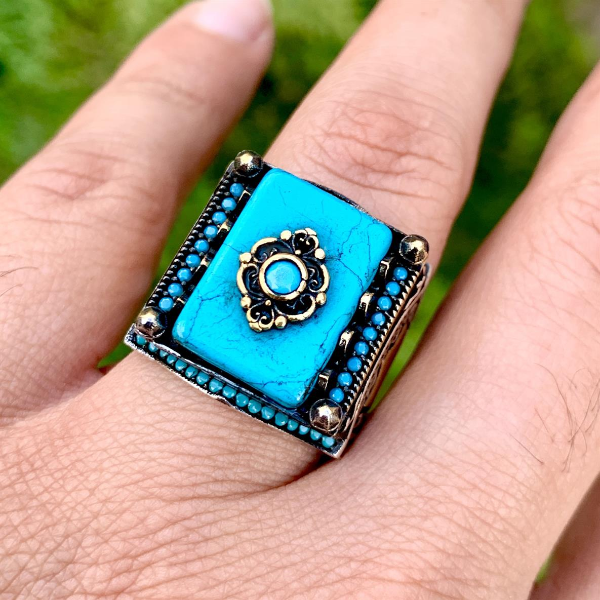 Turkish Rings Luxury 925 Silver 10 natural gemstones pakistan + 925 silver jewelry online